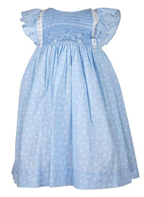 Luli & Me Baby / Toddler Girls Butterfly Smocked Dress - Lace Trim - Blue