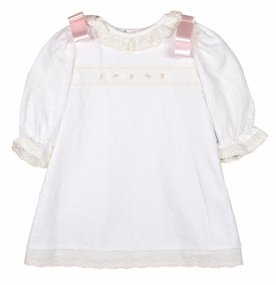 Luli & Me Baby / Toddler Girls Eyelet Dress with Lace Trim and Pink Ribbons
