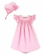 Luli & Me Baby / Toddler Girls Gingham Seersucker Smocked Bishop Dress - Pink