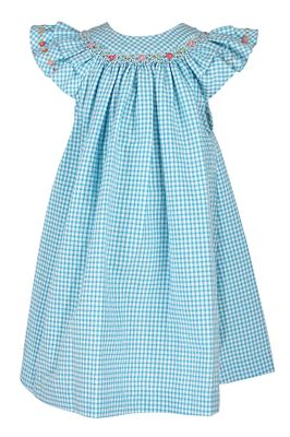 Luli & Me Baby / Toddler Girls Gingham Seersucker Smocked Bishop Dress - Turquoise Blue