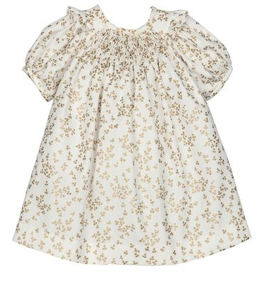 Luli & Me Baby / Toddler Girls Gold Floral Smocked Bishop Dress