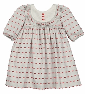 Luli & Me Baby / Toddler Girls Gray Bib Dress with Red Details