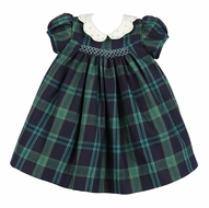 Luli & Me Baby / Toddler Girls Navy Blue / Green Blackwatch Plaid Smocked Dress