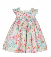 Luli & Me Baby / Toddler Girls Pink / Aqua Floral Smocked Dress with Bow