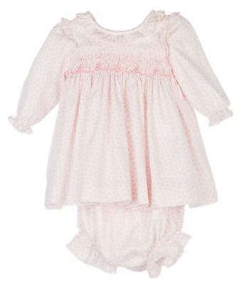 Luli & Me Baby / Toddler Girls Pink Floral Smocked Dress - Infants Include Bonnet and Bloomers