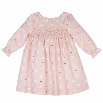 Luli & Me Baby / Toddler Girls Pink Kitty Cats Print Smocked Dress