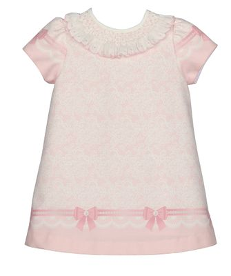 Luli & Me Baby / Toddler Girls Pink Bows Print A-Line Dress - Smocked Collar