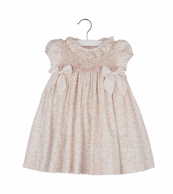 Luli & Me Baby / Toddler Girls Pink Floral Smocked Dress - Ruffle & Bows