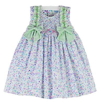 Luli & Me Baby / Toddler Girls Purple Floral Smocked Dress with Green Gingham Bows