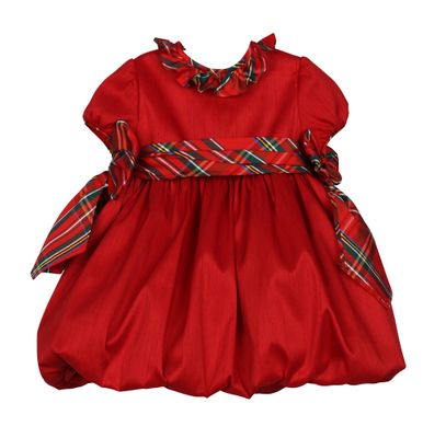 Luli & Me Baby / Toddler Girls Red Christmas Bubble Dress - Holiday Plaid Bows
