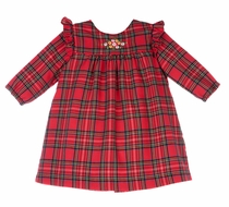 Luli & Me Baby / Toddler Girls Red Holiday Tartan Plaid Dress - Ruffle Yoke and Embroidery