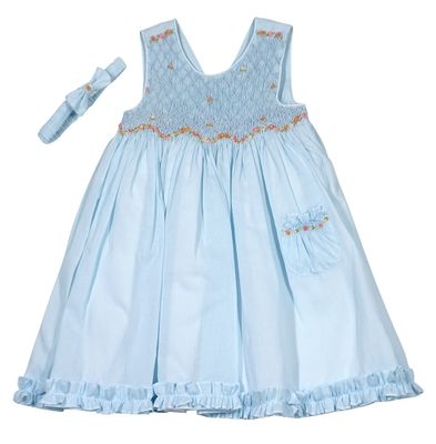 Luli & Me Baby / Toddler Girls Sleeveless Smocked Dress with Pocket - Blue