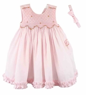 Luli & Me Baby / Toddler Girls Sleeveless Smocked Dress with Pocket - Pink