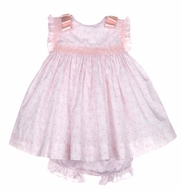 Luli & Me Baby / Toddler Girls Smocked Butterfly Dress with Bows on Shoulders - Pink