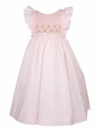 Luli & Me Baby / Toddler Girls Smocked Dress with Flutter Sleeves - Pink