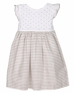 Luli & Me Baby / Toddler Girls Striped Tan Linen Blend Dress with White Sash
