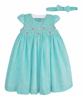 Luli & Me Baby / Toddler Girls Turquoise Blue Voile Smocked Dress with Headband