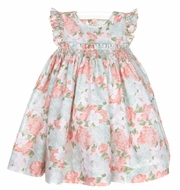 Luli & Me Baby / Toddler Girls Vintage Aqua / Coral Floral Smocked Dress