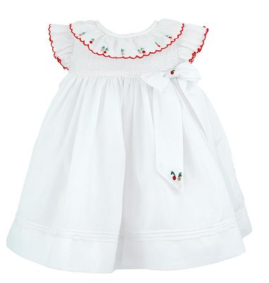 Luli & Me Baby / Toddler Girls White Organdy Dress - Embroidered Cherries