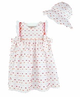 Luli & Me Baby / Toddler Girls White Smocked Dress - Ruffle Sleeves - Bow Embroidery - Hat