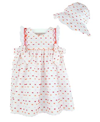 Luli & Me Baby / Toddler Girls White Smocked Dress - Ruffle Sleeves