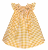 Luli & Me Baby / Toddler Girls Yellow Gingham Smocked Dress - Bishop