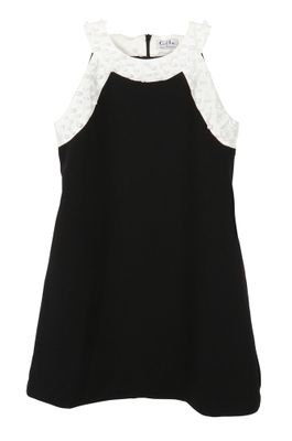 Luli & Me Gabby Girls Black Ponte Party Dress with Pearl Details