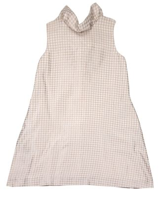 Luli & Me Gabby Girls Gold Houndstooth Blair Party Dress - Big Bow on Back