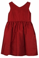 Luli & Me Gabby Girls Red Taffeta Christmas Party Dress - Bow on Back