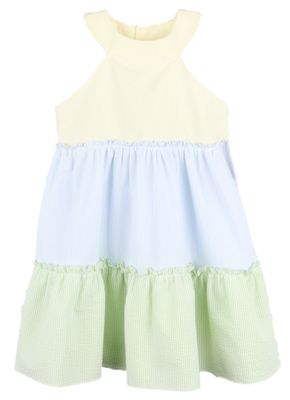 Luli & Me Gabby Girls Yellow / Blue / Green Seersucker Tiered Sun Dress