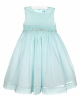 Luli & Me Girls Aqua Smocked Dress with Pintucks & Sash