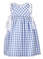 Luli & Me Girls Blue Checks Dress - White Side Bows