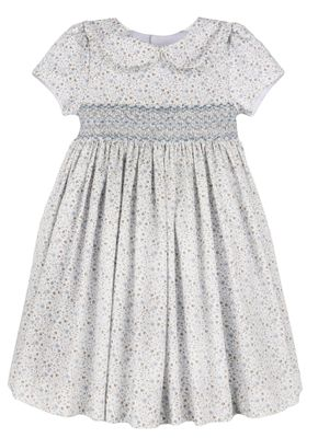 Luli & Me Girls Blue Floral Smocked Dress with Collar
