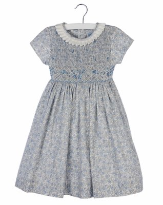 Luli & Me Girls Blue Liberty Floral Dress with Sash - Fully Smocked Bodice and Pleated Collar