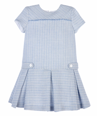 Luli & Me Girls Blue Plaid Pleated Drop Waist Dress