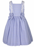 Luli & Me Girls Blue Striped Dress with Bows - Lace Trim
