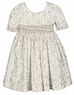 Luli & Me Girls Gold Floral Smocked Bodice Dress