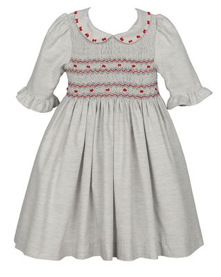 Luli & Me Girls Gray Dress - Bodice Smocked in Red