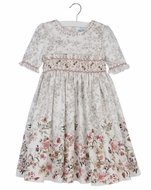 Luli & Me Girls Grey Toile Dress - Dusty Pink Fall Floral Border - Smocked Waist and Self Sash