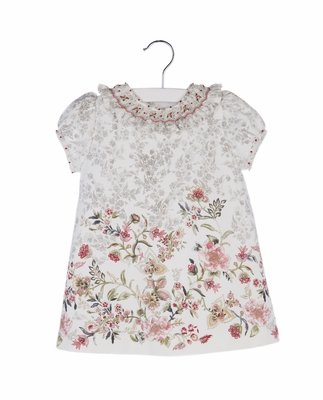 Luli & Me Girls Grey Toile Dress with Dusty Pink Fall Floral Border - Smocked Ruffle Collar