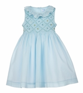 Luli & Me Girls Hand Smocked Sleeveless Ruffle Dress with Sash - Blue