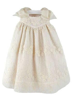 Luli & Me Girls Ivory Embroidered Tulle Dress with Bows
