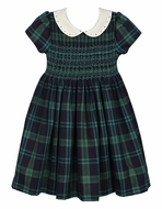 Luli & Me Girls Navy Blue / Green Blackwatch Plaid Smocked Dress