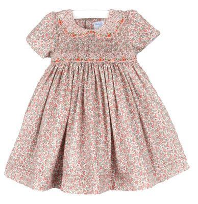 Luli & Me Girls Coral / Green Fall Floral Smocked Dress