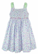 Luli & Me Girls Purple Floral Smocked Bodice Sun Dress with Green Gingham Bows on Shoulders