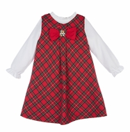Luli & Me Girls Red Holiday Tartan Plaid Embroidered Jumper Dress with Ruffle Blouse