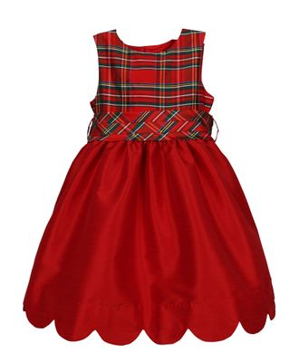 Luli & Me Girls Red Scallop Christmas Dress - Holiday Plaid Bodice & Sash