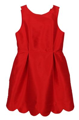 Luli & Me Girls Red Scallop Christmas Dress - V-Back
