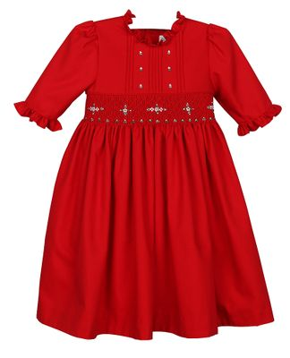 Luli & Me Girls Red Smocked Christmas Dress - Ruffle Sleeves