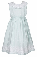 Luli & Me Girls Sleeveless Aqua Petal Print Dress - Petal Collar - Sash